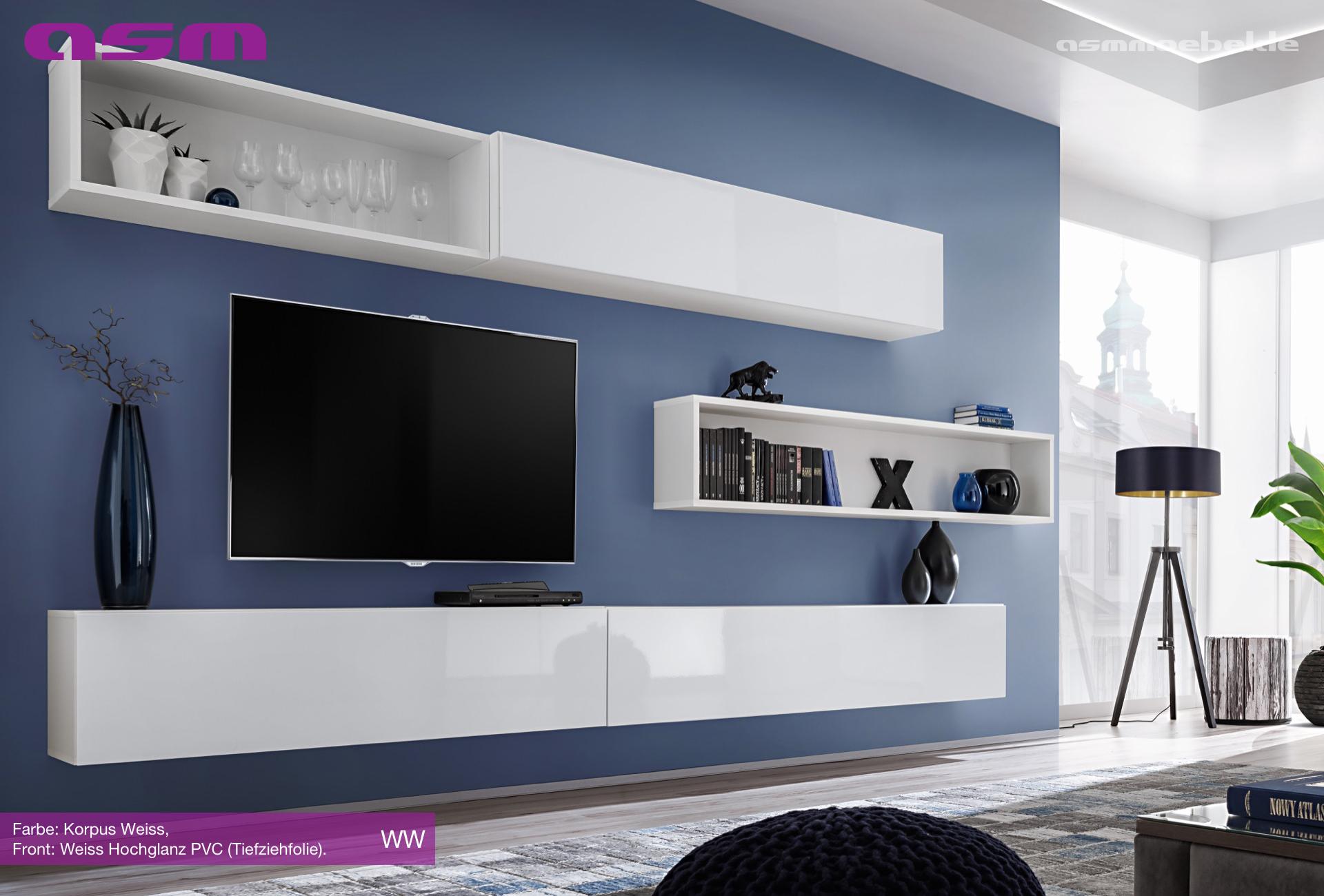 Anbauwand Wohnwand Wohnzimmer Schrankwand SWITCH X HOCHGLANZ PVC Push Click Neu